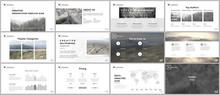 Clean, Minimal Presentation Templates. Simple Elements On White Background For Your Portfolio Template. Brochure Cover Vector Design. Presentation Slides For Flyer, Brochure, Report, Advertising.