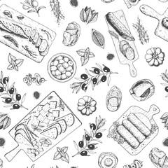 FototapetaGourmet snacks seamless pattern. Cheese, sausages, bread hand drawn. Gourmet food menu design template. Engraved style.