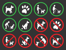 No Dogs And Dog Allowed Signs,...