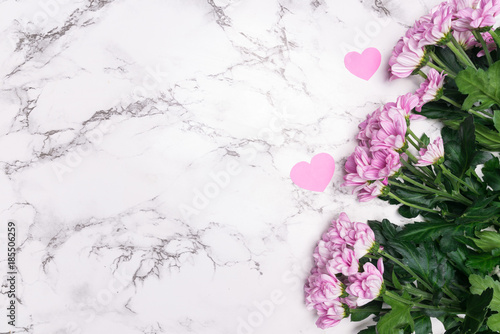 Pink Flowers On Marble Background With Copy Space Buy