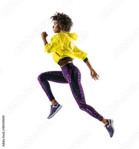 Girl runner in silhouette on white background Canvas Print