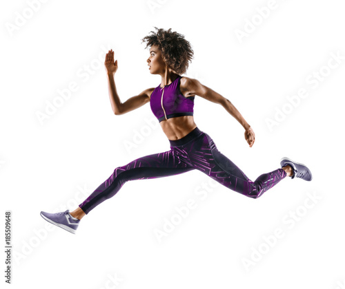 Woman runner in silhouette on white background Canvas Print
