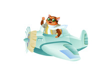 Cute Funny Animal Pilot Charac...