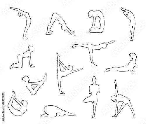 Obraz na plátně Sketch Yoga Silhouettes in Asanas