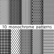10 monochrome seamless patterns for universal background. Black and white colors. Texture for wallpaper, fills, web page background.