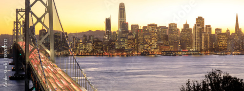 Canvas Prints San Francisco San Francisco Downtown and Bay Bridge in the golden hours. Panoramic view of San Francisco water front from Yerba Buena Island, California, USA.
