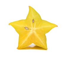 Carambola, Star Fruit Isolated On White Background