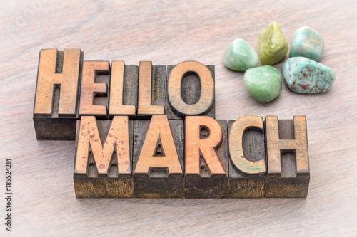 Leinwand Poster Hello March in vintage wood type