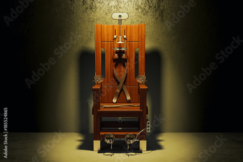 Fotografía  Electric chair in the dark room, 3D rendering