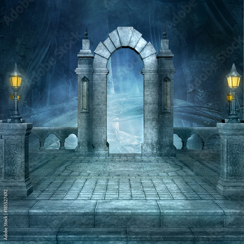 Foto op Aluminium Rudnes Fantasy background with arc by night