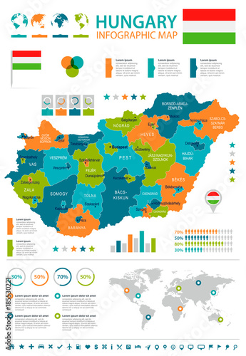 Hungary - infographic map and flag - Detailed Vector Illustration Canvas Print