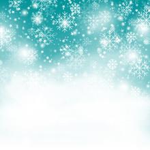 Turquoise Snowflake Background...