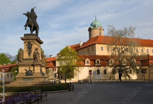 Fotografia, Obraz  Castle Podebrady  with the statue of King George from the Poděbrad, Central Bohe