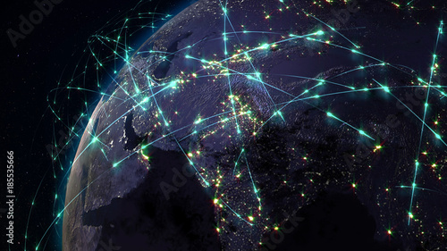Obraz 3D rendering abstract of world network, internet and global connection concept - fototapety do salonu