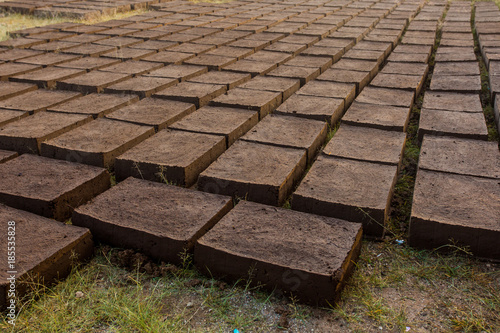 Drying adobe bricks Canvas Print