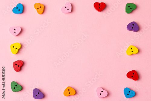 Frame of heart-shaped buttons with copy space  Valentine's