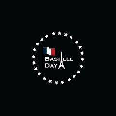 Fototapeta na wymiar Bastille Day Vector Template Design
