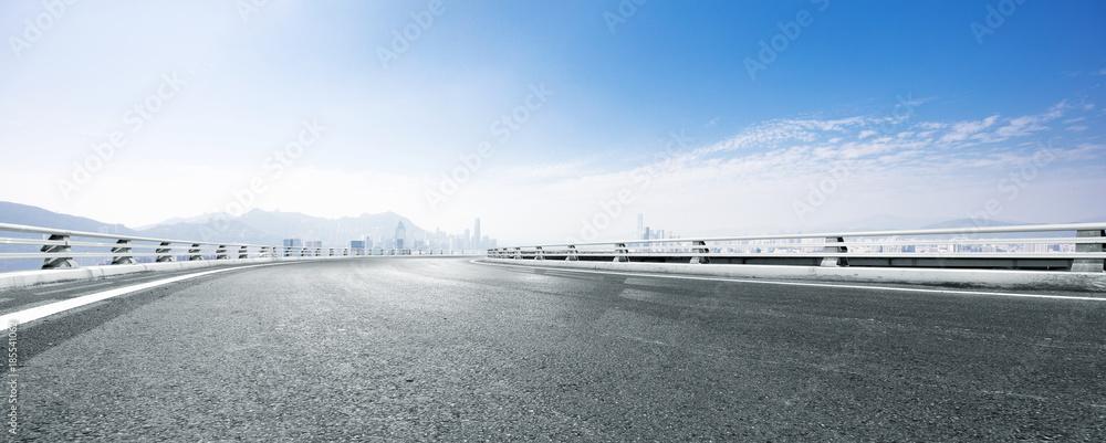 Fototapety, obrazy: empty asphalt road with cityscape of modern city