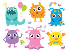 Cute Little Monsters Vector Il...