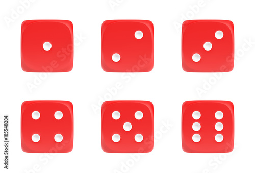 3d rendering of a set of six red dice in front view with white dots showing different numbers Wallpaper Mural