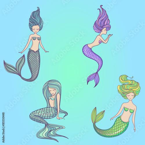 Beautiful little mermaid set Poster