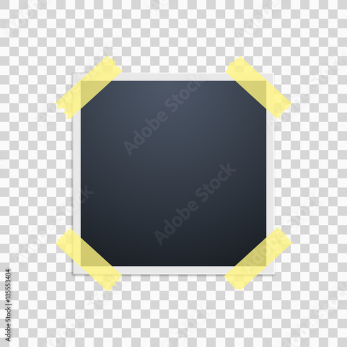 polaroid on a transparent background retro photo frame yellow