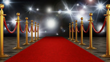 Red Carpet And Velvet Ropes On...