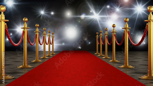 Fototapeta Red carpet and velvet ropes on gala night background