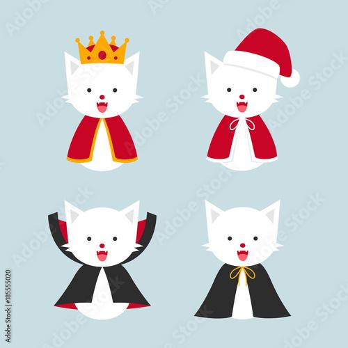 Fotografie, Obraz  cat in costumes, king, santa cat, dracula cat, hero, kitten characters flat vect