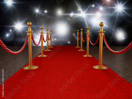 Red carpet and velvet ropes on gala night background Canvas Print