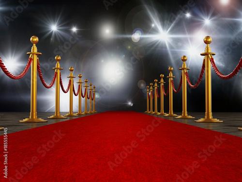 Photo  Red carpet and velvet ropes on gala night background