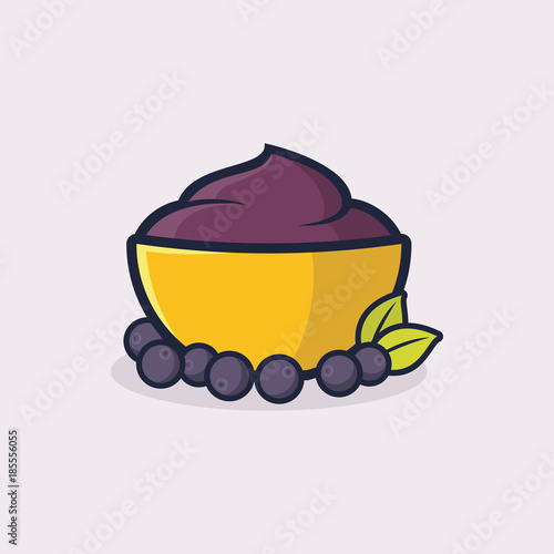 A bowl of acai illustration vector Wallpaper Mural