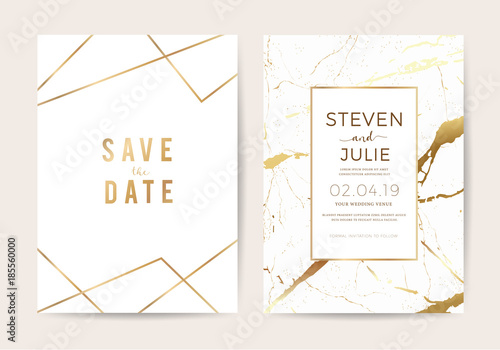 Fototapeta Wedding Cards With Marble Texture And Gold Design For Cover Banner Invitation Card Branding And Identity Vector Illustration