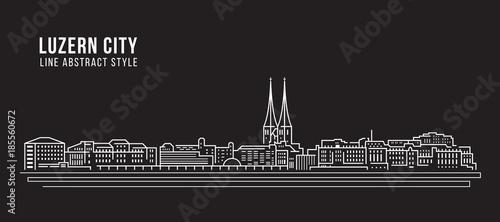 Photographie  Cityscape Building Line art Vector Illustration design - Luzern city