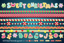 Sweet Christmas Design Element. Border Candy, Cookies And And Brush Segments For Different Shapes Of Frames. Big Vector Holiday Set.
