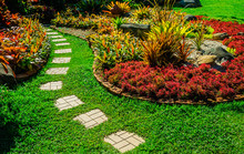 Pathway In Garden,green Lawns ...