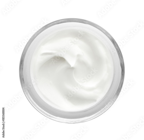 Carta da parati Jar with body cream on white background