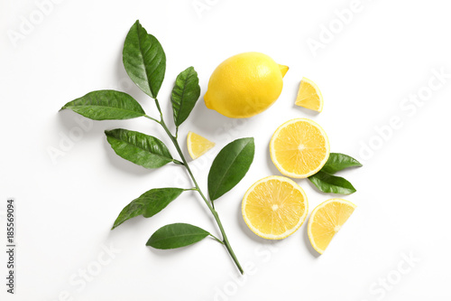 Photographie  Composition with ripe lemons on white background