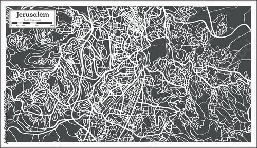 Jerusalem Israel City Map in Retro Style. Wallpaper Mural