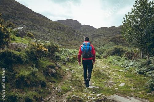 Male hiker walking through green hills
