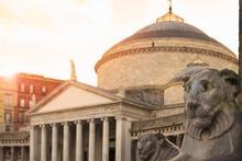 Piazza Del Plebiscito In Naples, Italy.
