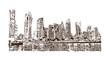 Skyline Doha City, Qatar. Hand drawn sketch in vector illustration.
