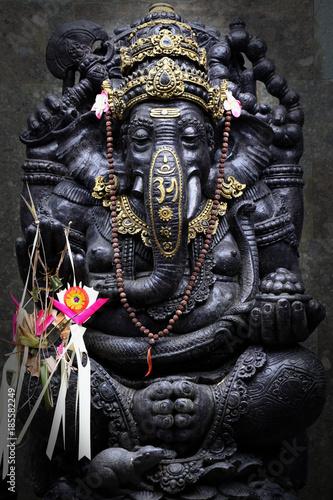 Black Ganesh Ganesha Statue with OM