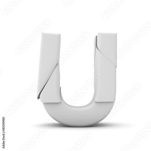 Letter U, Broken cracked font  3D Rendering - Buy this stock