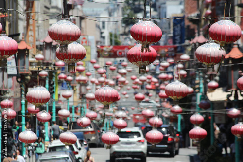 Bush Street in China Town geschmückt mit Laternen.Where: San Francisco, USA.When: 09.07.2016.