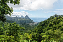 St Lucia, Grand Pitons In Distance Overlooking Soufriere