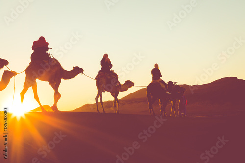 Foto op Plexiglas Kameel Camel caravan with people going through the sand dunes in the Sahara Desert. Morocco, Africa.