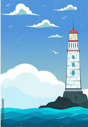In de dag Groene koraal Blue sea with waves and lighthouse.