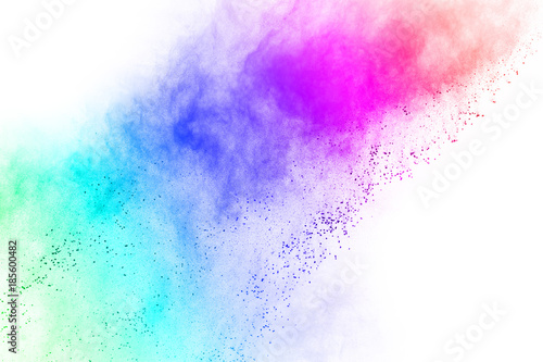 Foto auf AluDibond Formen abstract multicolored powder splatted on white background,Freeze motion of color powder exploding.