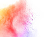 canvas print picture - abstract multicolored powder splatted on white background,Freeze motion of color powder exploding.